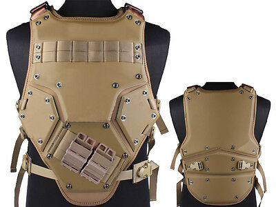 Tactical TF3 Molle Combat Vest Magazine Pouch Airsoft Paintball Military Tan