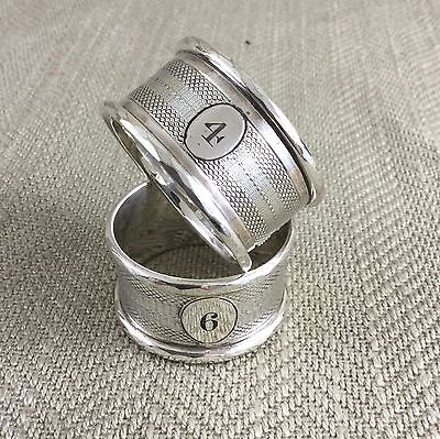 Antique English Silver Plate Napkin Rings Engraved Numbered Pair Victorian