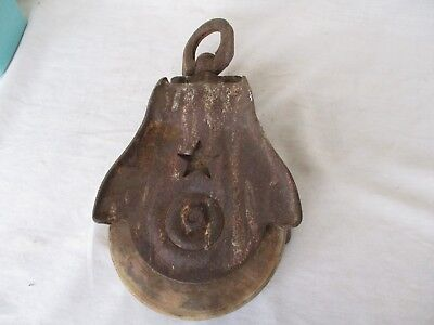 Antique STARLINE Primitive Cast Iron Barn Pulley  Steampunk Wood Wheel  * STAR *
