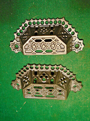 2 EASTLAKE DRAWER PULLS 1 large & 1 small- CAST STEEL - MATCHING  (9540)