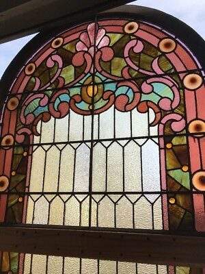 OXF Antique Stainglass Arch Top Landing Window Double Hung 44.25 X 87.5