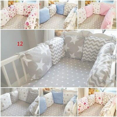 mega sale! COT BED BUMPER made from 6 cushions GREY PINK BABY BLUE STARS CHEVRON