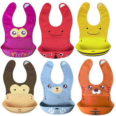 Waterproof Silicone animal design wipe clean baby bibs roll up style carry bag
