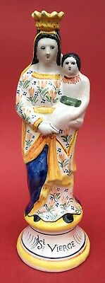 Vintage French Henriot Quimper Faience Virgin Mary & Jesus