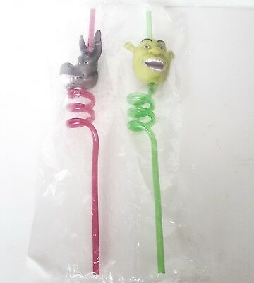 "2010 Shrek And Donkey  Spiral Plastic 11"" Silly Straw Shrek Forever After"