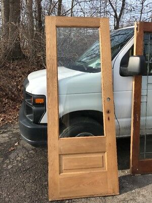 OXF 14 Antique Ash Entrance Door Beveled Glass 31.75 X 84 X 1 3/8