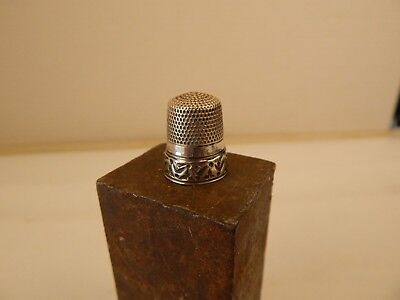 "antique embossed Sterling Silver #10 Sewing THIMBLE ""S"""