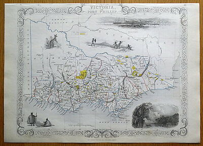 VICTORIA or PORT PHILLIP, AUSTRALIA, RAPKIN & TALLIS original antique map c1850