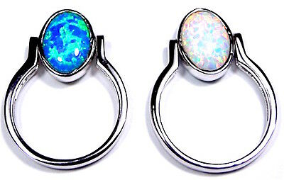Reversible Blue & White Fire Opal Solid 925 Sterling Silver Ring size 5 - 8.5