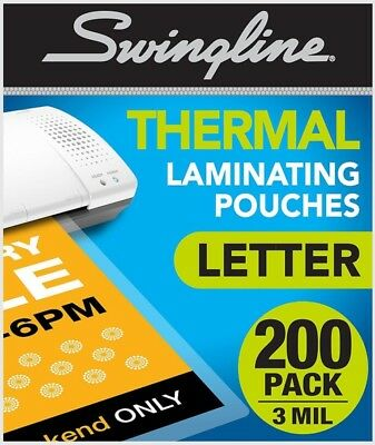 Swingline Thermal Laminating Sheets / Pouches, Letter Size, 200 Pack, 3 Mil