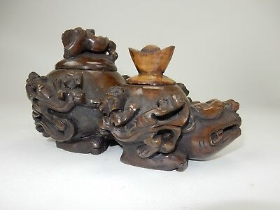 """Large Chinese Intricately Carved Jade  Dragon turtle  two lidded vessel 10 """""""