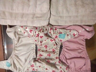 Charlie Banana Cloth Pocket Diaper Adjustable One Size 3 Diapers With 6 Inserts