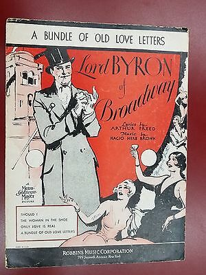 A Bundle Of Old Love Letters - Lord Byron of Broadway - Antique Sheet Music