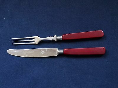 Vintage Handles Red Bakelite Catalin Knive And Fork Rare Red Catalin