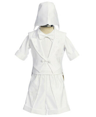 Boys BABY Infant toddler Christening Baptism White Outfit w/ CROSS (SIZE XS - 4)