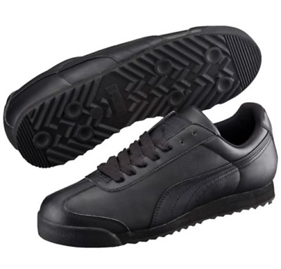 Kids All Black Puma Roma Classic Comfort Running Sneakers Training School Shoes