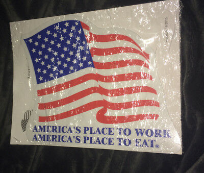 Brand New Waffle House America's Place To Work/eat Usa Flag Decal