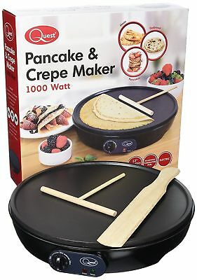 "Electric 12"" 1000 Watt Non Stick Large Pancakes & Crepe ,Naan ,Flatbread Maker"