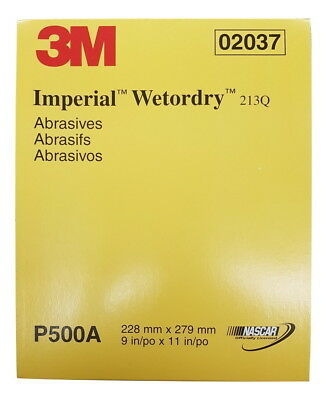 3M Imperial Wetordry Sheet, 02037, 9 in x 11 in, P500A, 50 sheets, USA