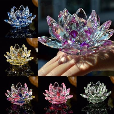 Flower Figurines Gifts 80mm Paperweight Glass Crafts Crystal Lotus Flower