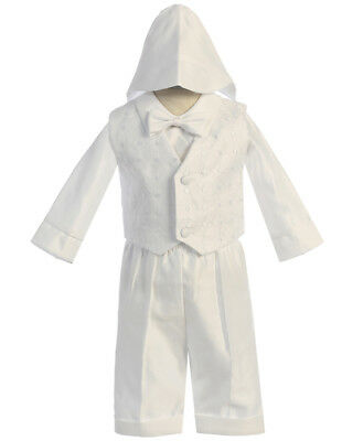 Boys BABY Infant toddler Christening Baptism White Outfit LONG Set W/ HAT