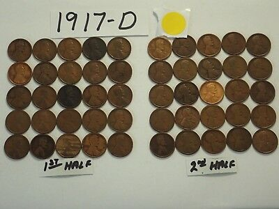 1917-D Solid Date Pennies=Roll 50 Lincoln Wheat Cents