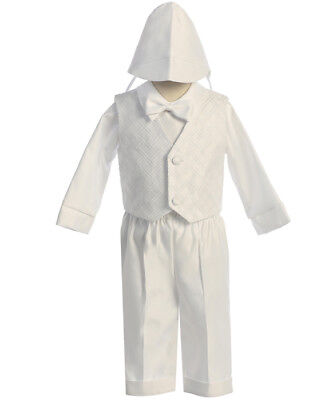 Boys BABY Infant toddler Christening Baptism White Outfit LONG Set (SIZE XS - 2)