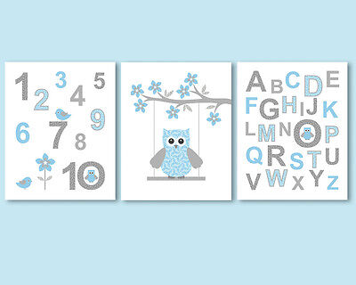 3 prints / posters, art for baby boy nursery - alphabet, ABC, numbers, blue owl