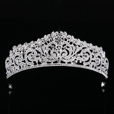 Stunning Silver Crown/Tiara With Clear Crystals, Wedding, Bridal Or Racing