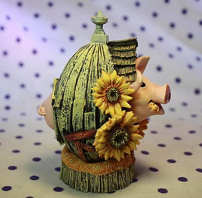 Sunny Side Up Egg by Lowell Herrero Pig Figurine Sunflowers Limited Edition