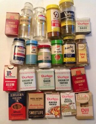 lot of vintage spice tins boxes glass jars Durkee French's Ehlers Ann Page