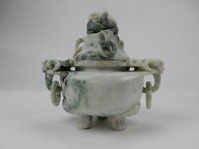 Gorgeous Chinese Intricately Carved Jade Hard stone Tri Foot Lidded Jar 6 ""