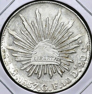 1857Mo-GF EIGHT 8 REALES MEXICO