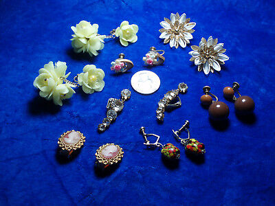 Lot of 7 Vintage Clip & Screw On Earrings Yellow,Brown, Flower, Cameo,Rhinestone