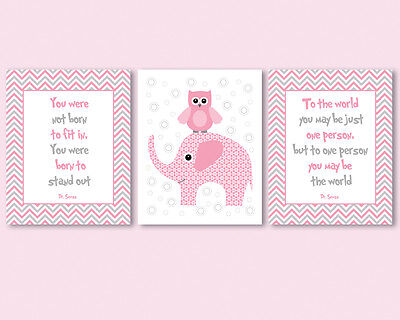 3 prints for baby girl nursery - Dr Seuss quotes, pink and grey, owl, elephant