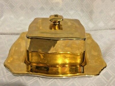 Royal Winton Grimwades Squared Butter Dish, Gold Gilt.