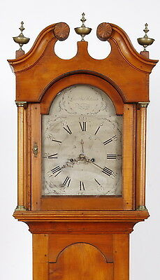 Levi Abel Hutchins Concord NH Brass Dial Maple Tall Case Grandfather Clock C1790