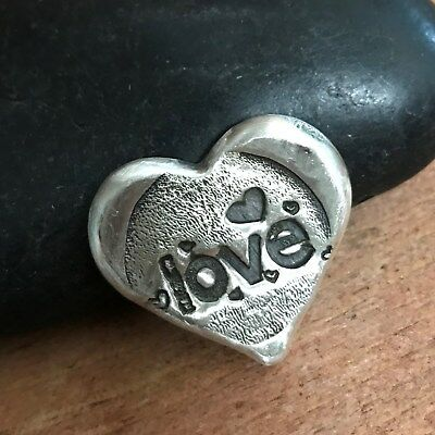 "2 Troy Oz  MK BARZ  .999 Fine ""LOVE"" SHAPE HEART SILVER BAR"