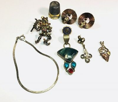 VTG Sterling Silver 925 Lot of Mixed Junk Jewelry SCRAP 37.50 Thimble Pendant