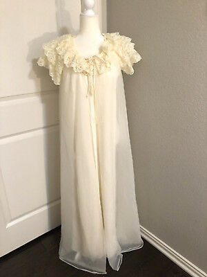 Vintage Shadowline Gown & Chiffon Robe, Womens Small bridal Nightgown Ivory Lace