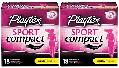 Playtex Sport Compact Tampon Regular Unscented 18-ct (Lot of 2)