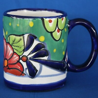 Talavera Mexico Pottery Coffee Mug Cup Bright Colorful Blue Green Red 4