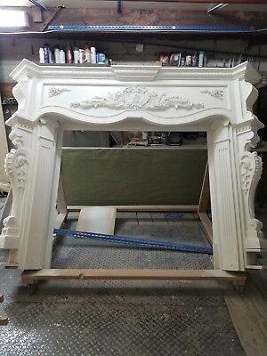 Antique French Breton Fireplace Surround in Oak Great Carving Lots of Detail