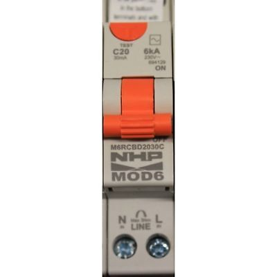Nhp Mod 6 Saftey Switch 20 Amp. Residual Current Device. M6Rcbs2030C