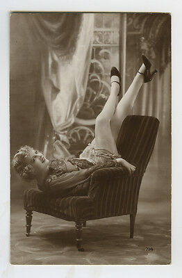 1920s French risque n/ Nude LEGGY DECO FLAPPER photo postcard