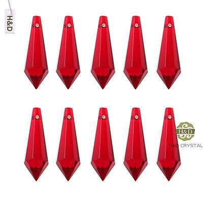 10 Red Chandelier Glass Crystals Lamp Prisms Parts Hanging Drops Pendants 38mm