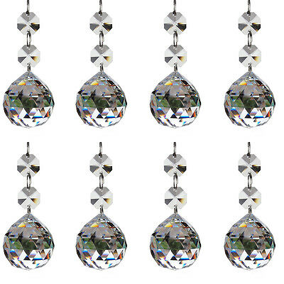 H&D 10pcs Clear Crystal Glass Ball Chandelier Prisms Pendants Parts Beads,20mm