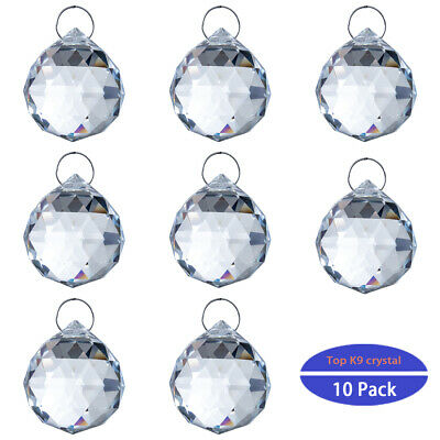 10PCS Clear Crystal Chandelier Ball Prisms Drops Suncatcher Decor Pendant 30mm