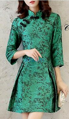 Ladies Chinese Style Floral Qipao Embroidery A-Style Dress Mid Calf Prom Party