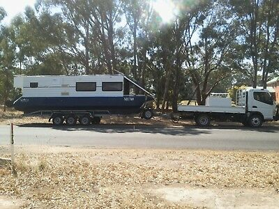 Trailerable Aluminium Houseboat Tri-axle Trailer. suit Caravan buyer. See Video